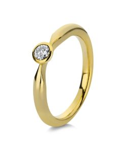 Ring Zarge 14 kt GG  1 Brill. 0 20 ct  W-si  Weite:54
