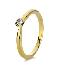 Ring Zarge 14 kt GG  1 Brill. 0 07 ct  W-si  Weite:54
