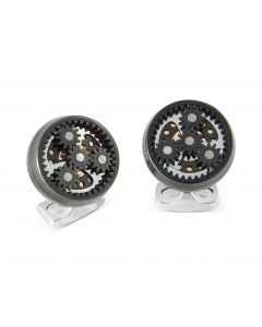 SUN & PLANET GEAR CUFFLINKS - GUNMETAL BLACK