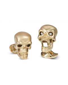 GOLD PLATED STERLING SILVER SKULL CUFFLINKS WITH DIAMOND EYES
