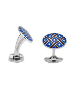STERLING SILVER ROYAL BLUE AND MAROON PATTERNED CUFFLINKS