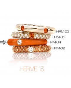 POP Ring Hermes Emaille orange 18kt RG
