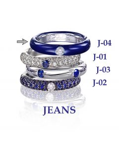 POP Ring Jeans Emaille blau 18kt WG